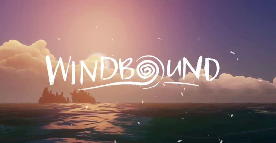 "sunsest over water with the word ""windbound"""